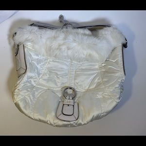 Coach White Quilted Handbag Rabbit Fur Trim